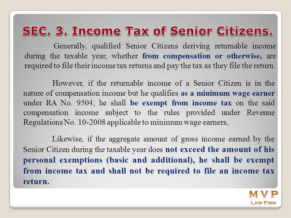 SEC. 3. Income Tax of Senior Citizens.