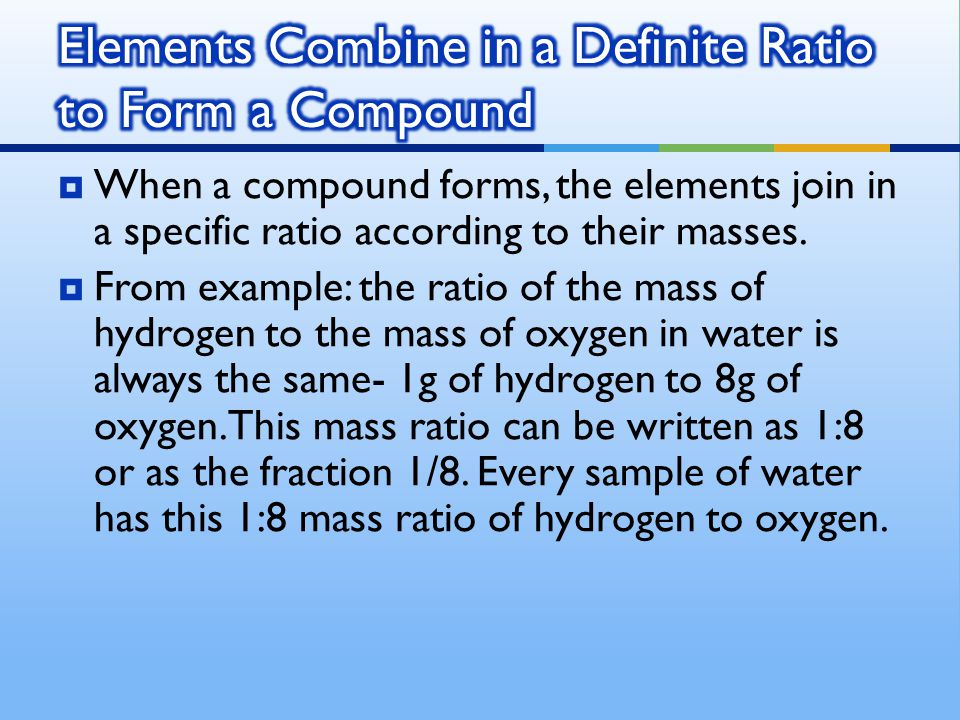 Elements Combine in a Definite Ratio to Form a Compound