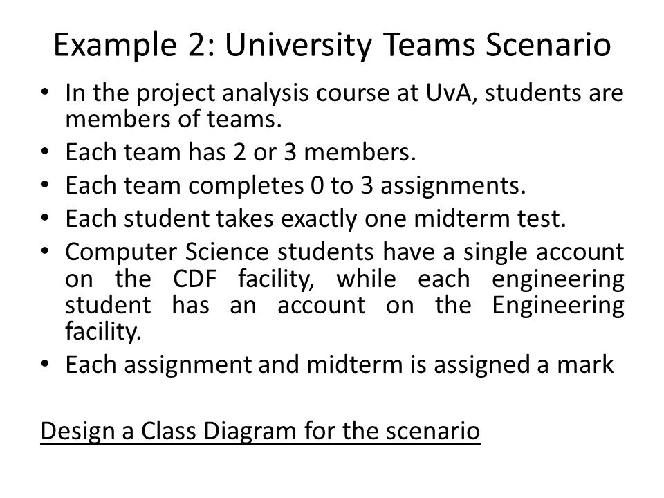 Example 2: University Teams Scenario