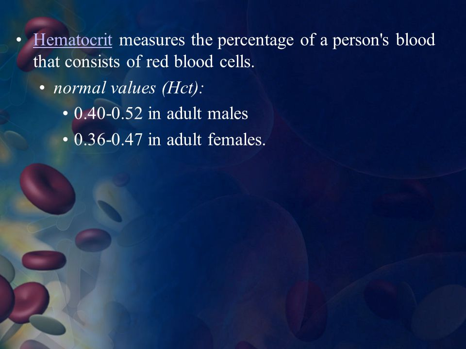Hematocrit measures the percentage of a person s blood that consists of red blood cells.