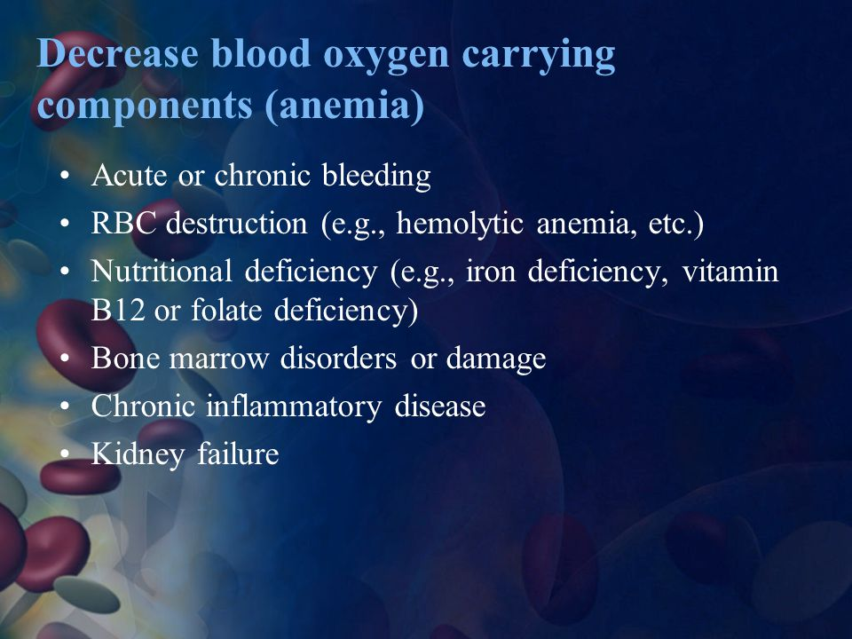 Decrease blood oxygen carrying components (anemia)