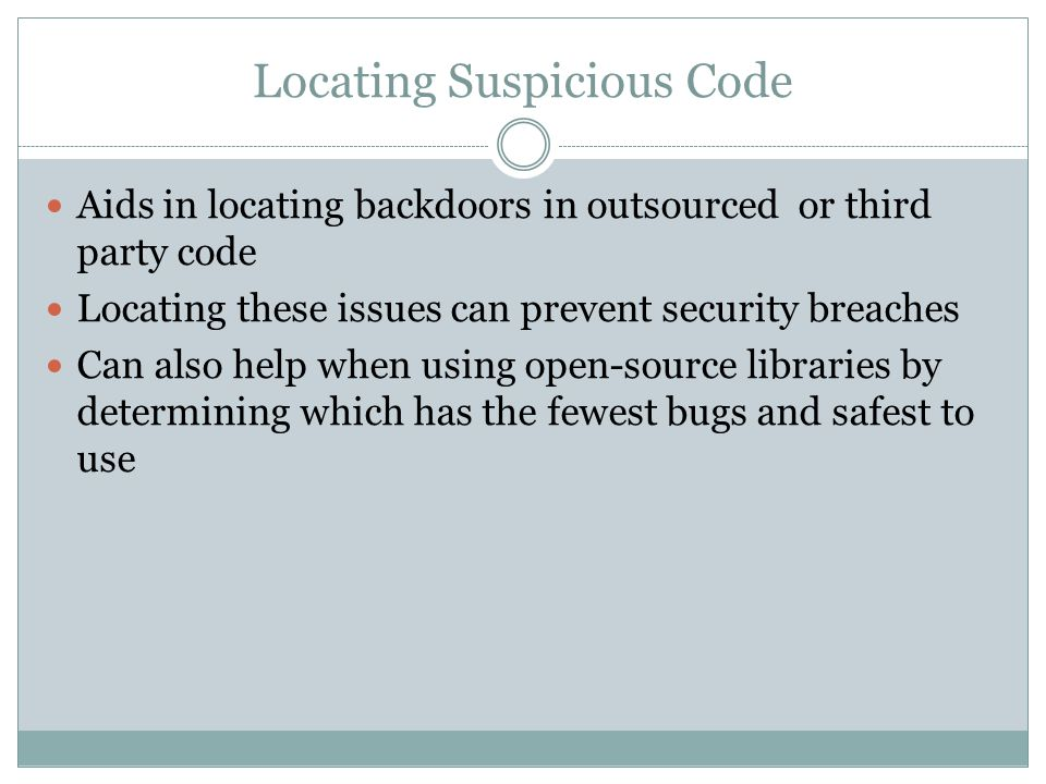 Locating Suspicious Code