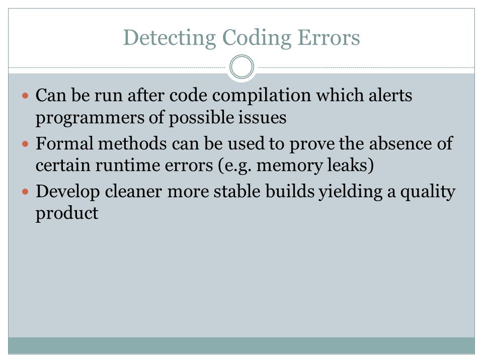 Detecting Coding Errors