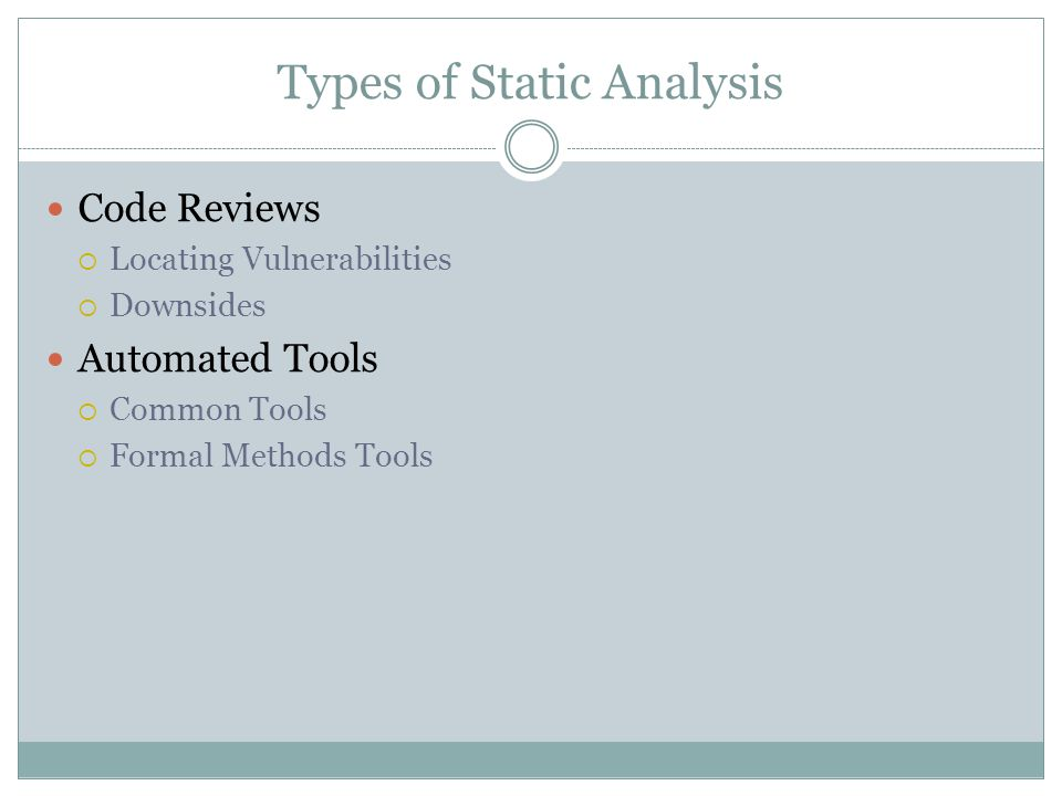 Types of Static Analysis