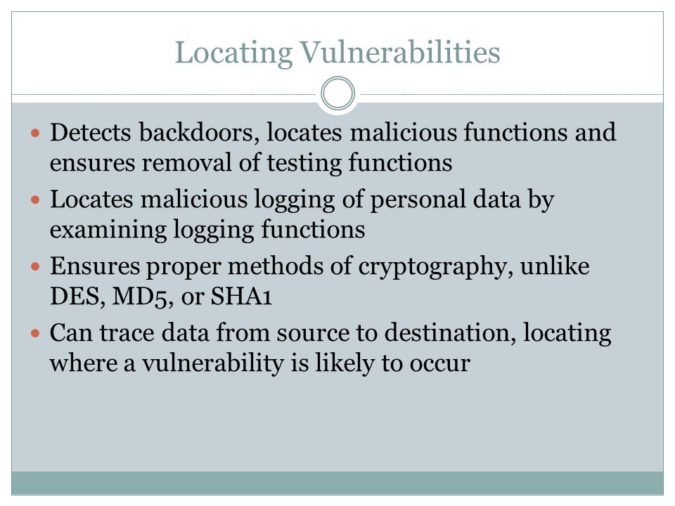 Locating Vulnerabilities