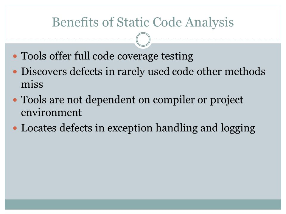 Benefits of Static Code Analysis