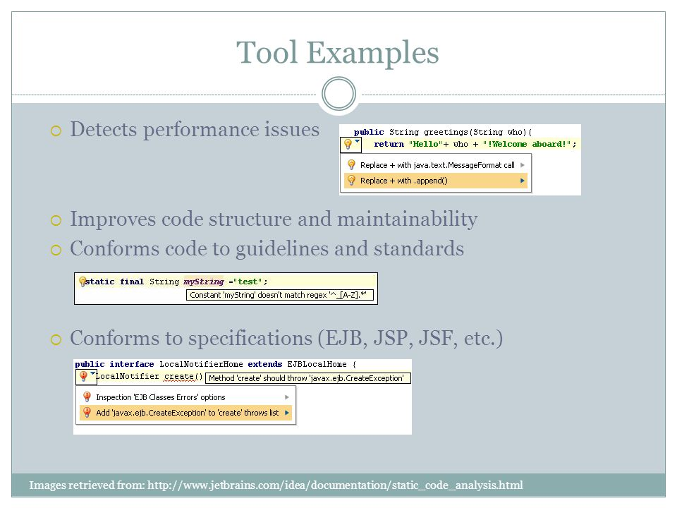 Tool Examples Detects performance issues