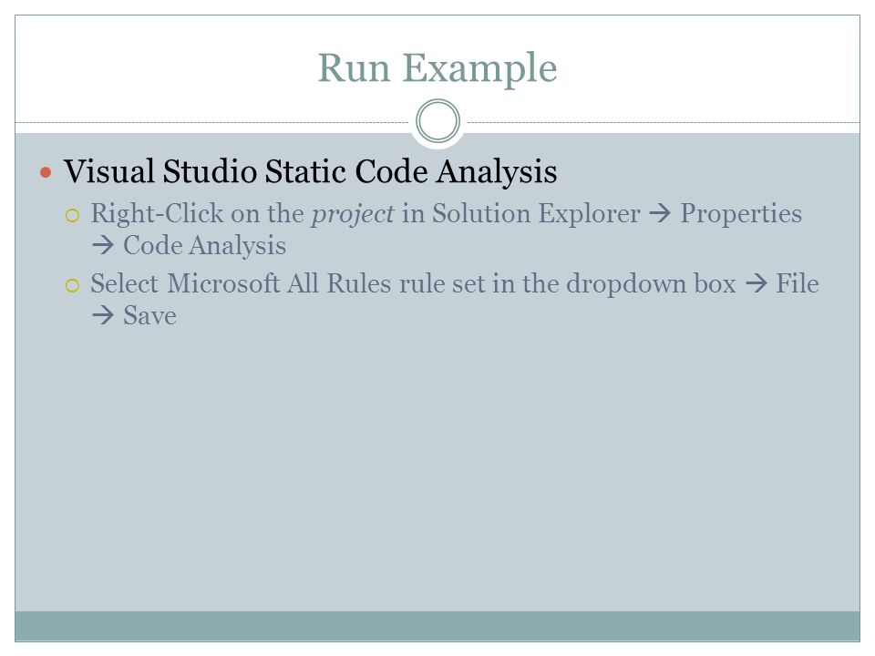 Run Example Visual Studio Static Code Analysis