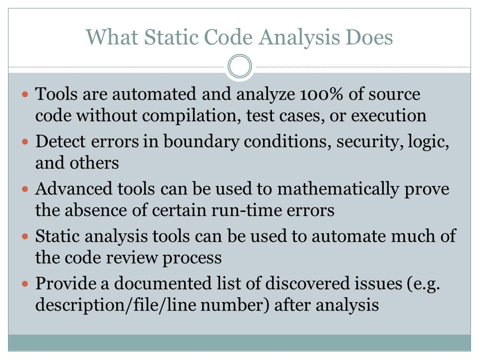 What Static Code Analysis Does