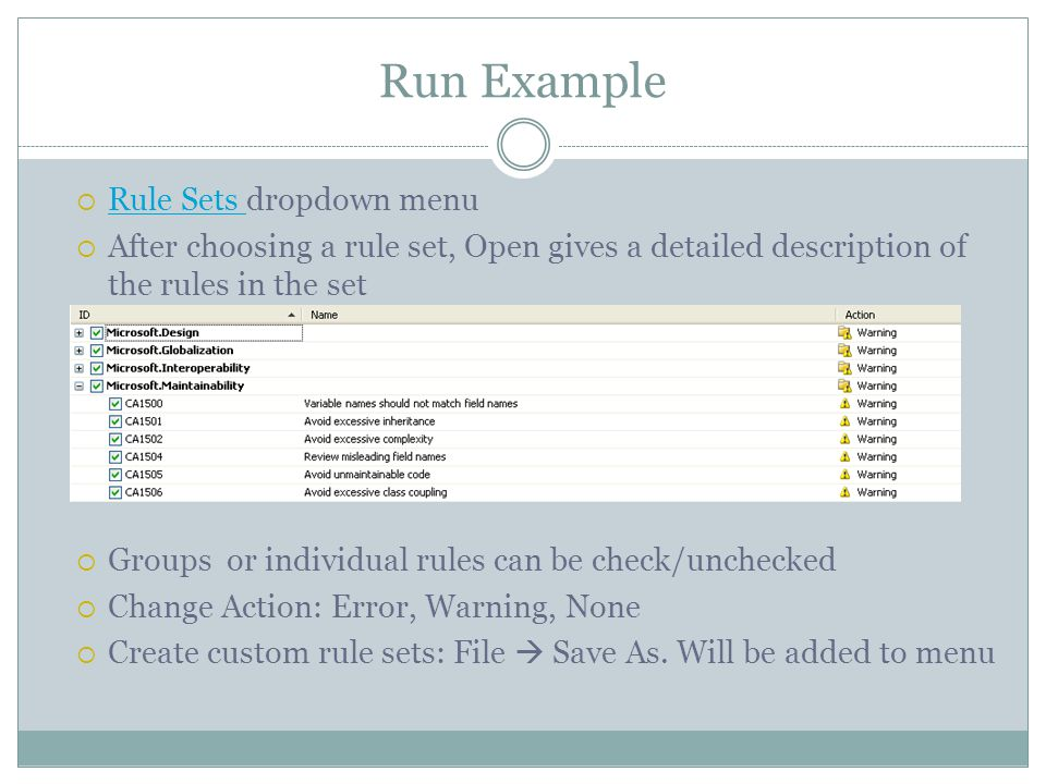 Run Example Rule Sets dropdown menu