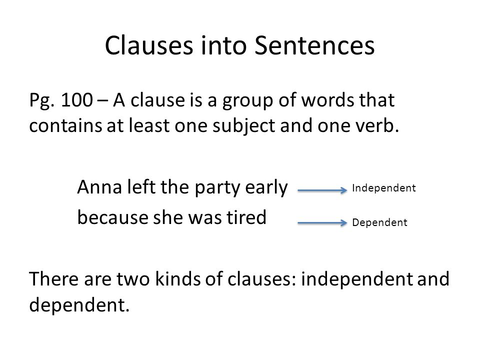 Clauses into Sentences