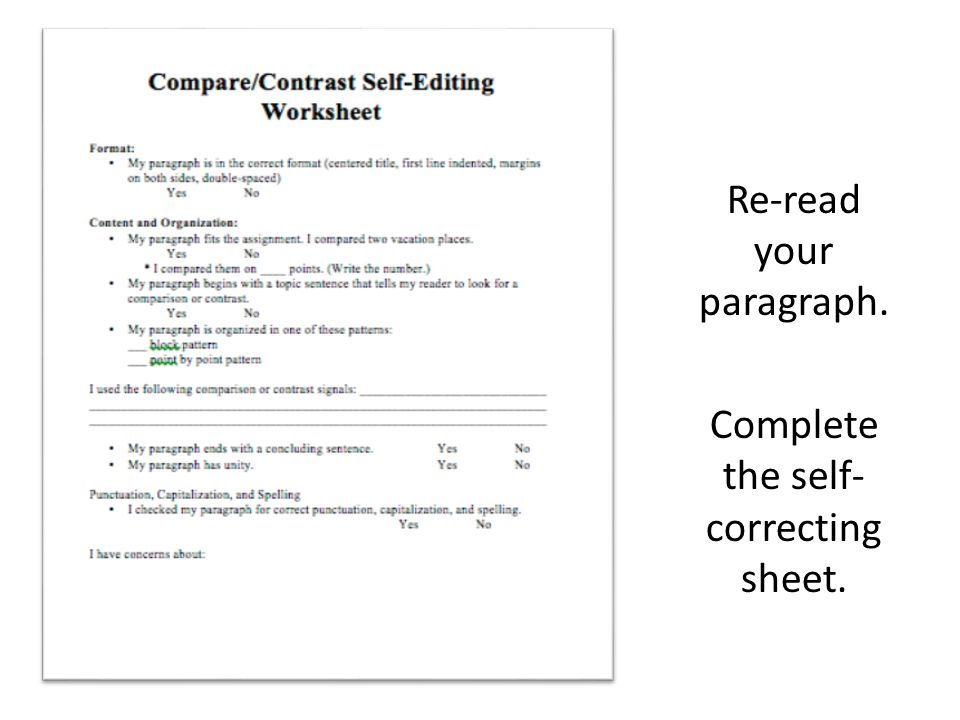 Re-read your paragraph. Complete the self-correcting sheet.