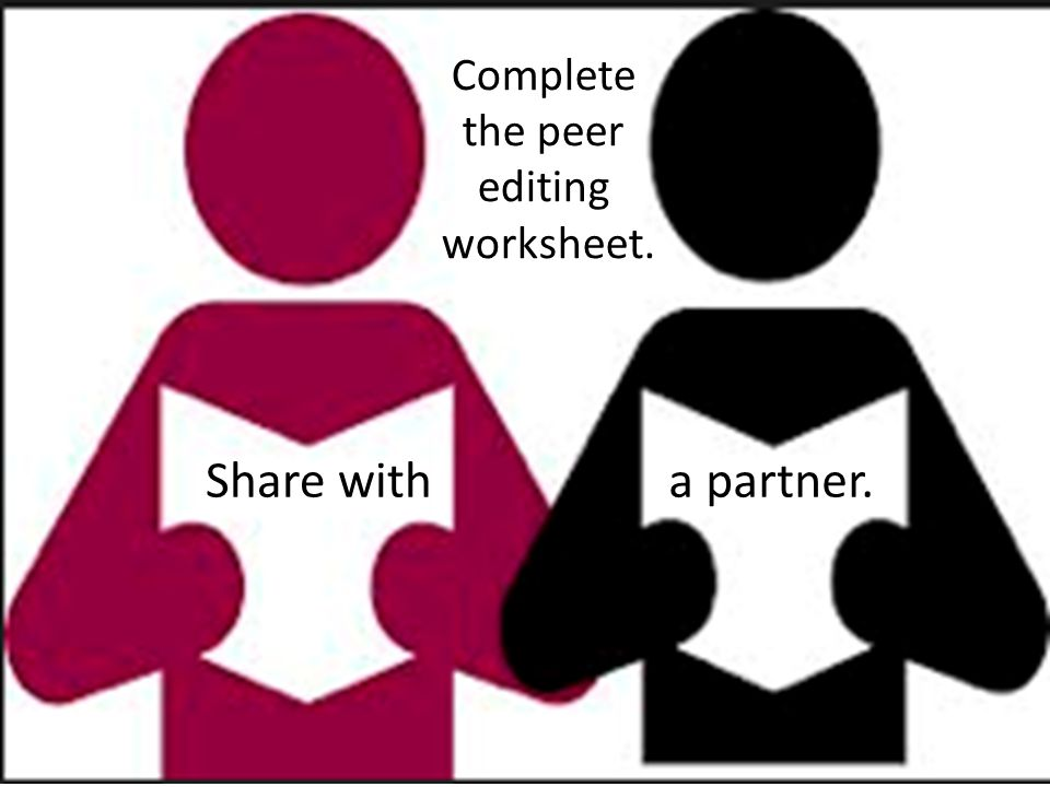 Complete the peer editing worksheet. Share with a partner.