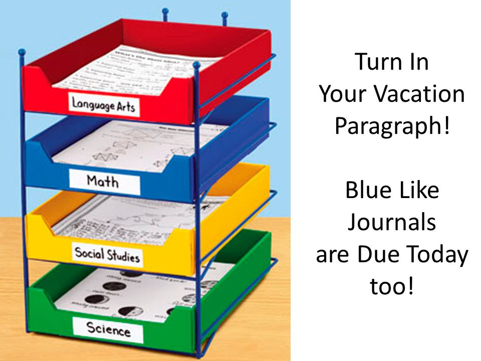 Turn In Your Vacation Paragraph! Blue Like Journals are Due Today too!