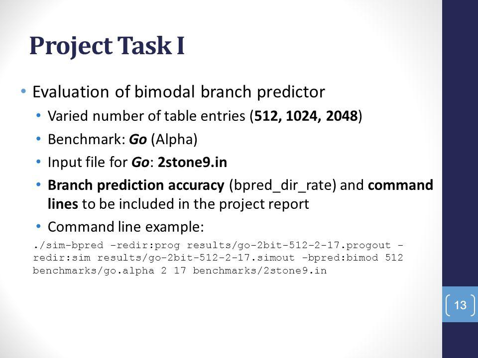 Project Task I Evaluation of bimodal branch predictor