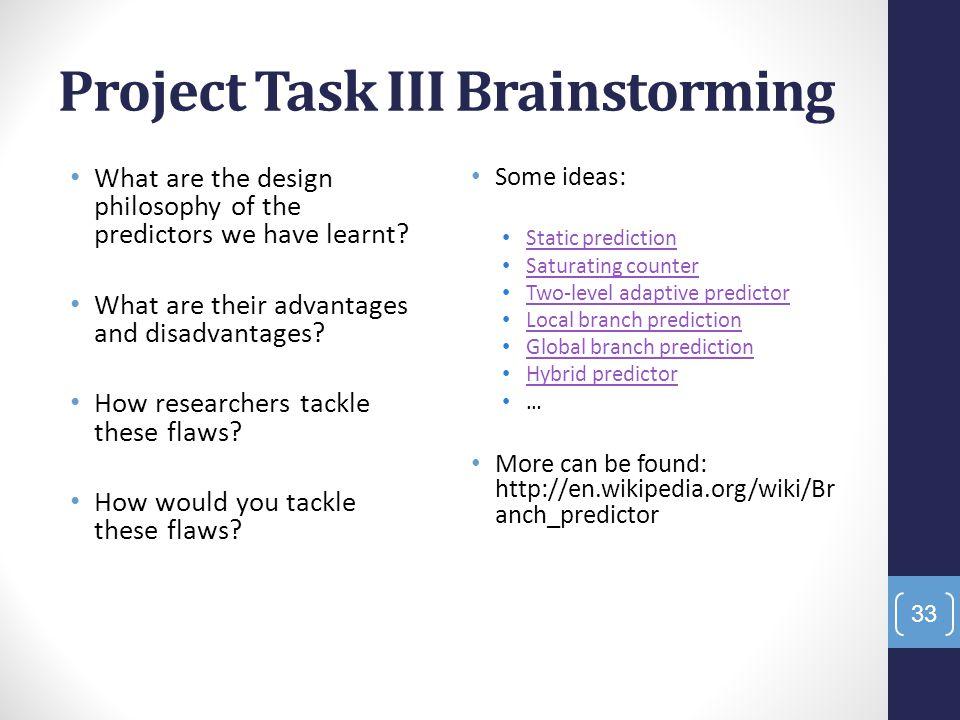 Project Task III Brainstorming