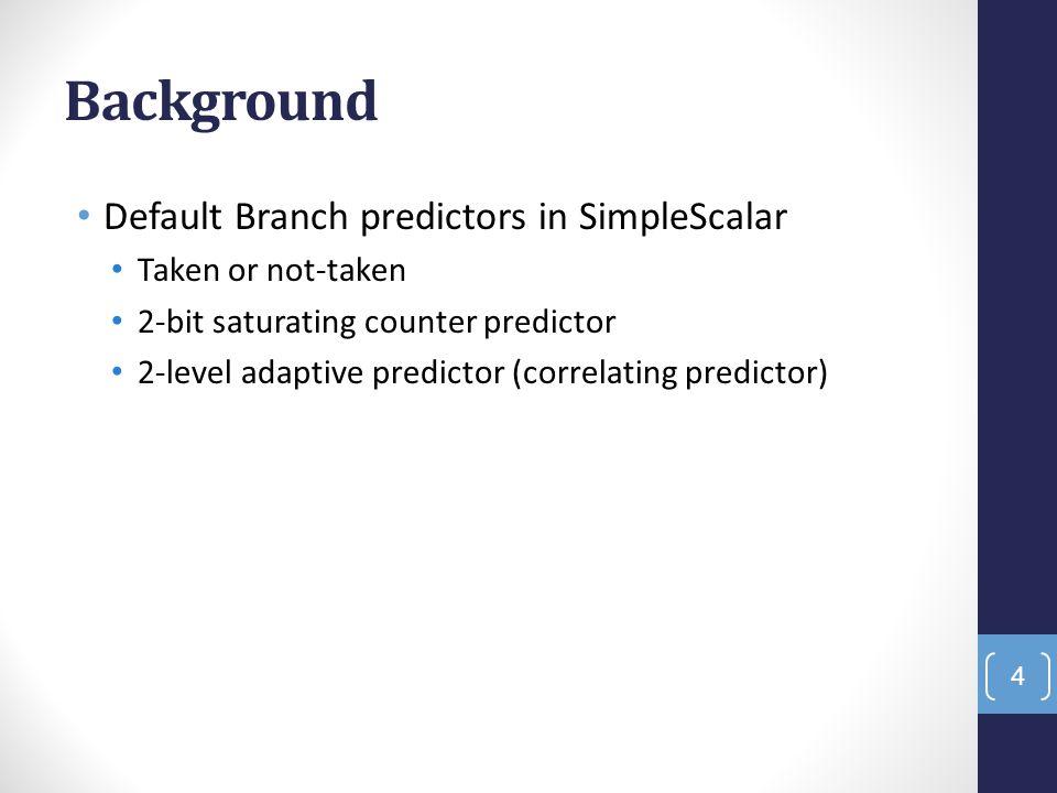 Background Default Branch predictors in SimpleScalar