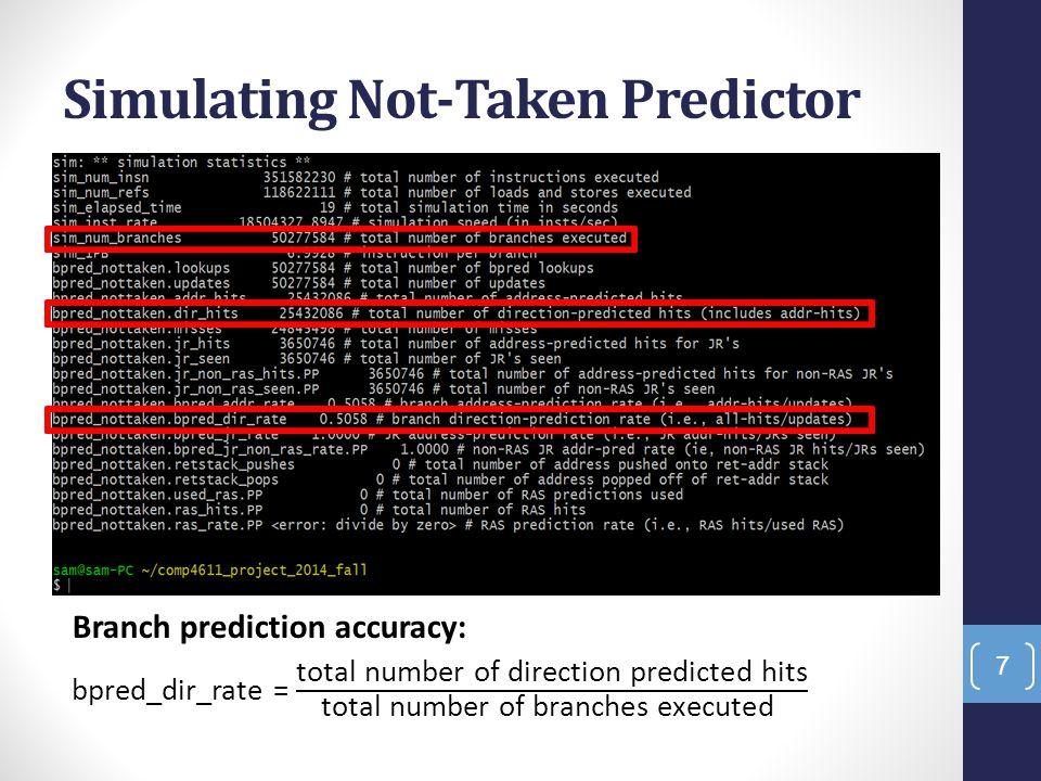 Simulating Not-Taken Predictor