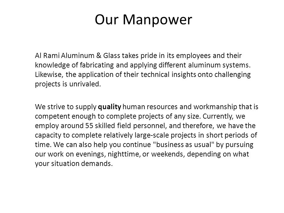 Our Manpower
