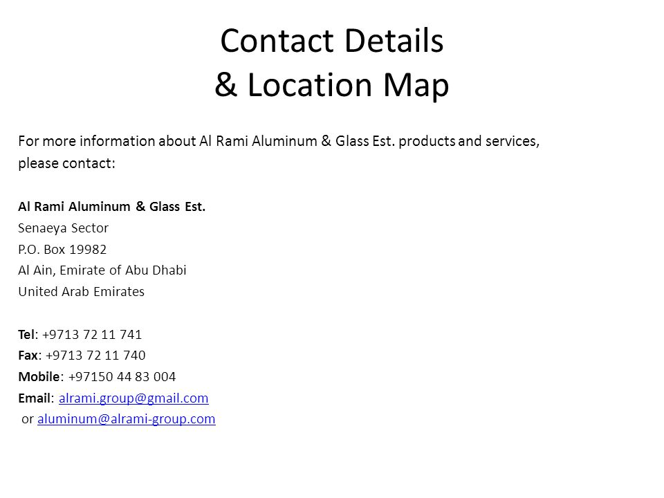 Contact Details & Location Map