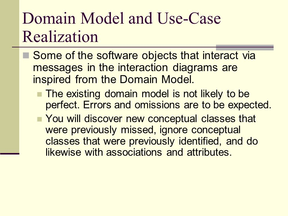 Domain Model and Use-Case Realization
