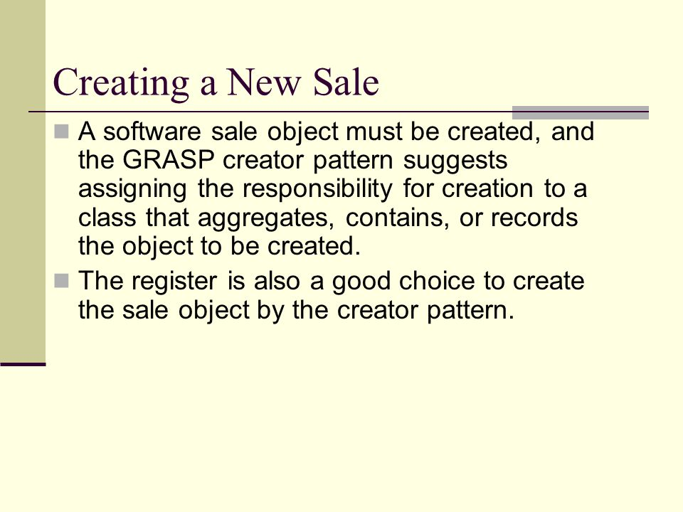 Creating a New Sale