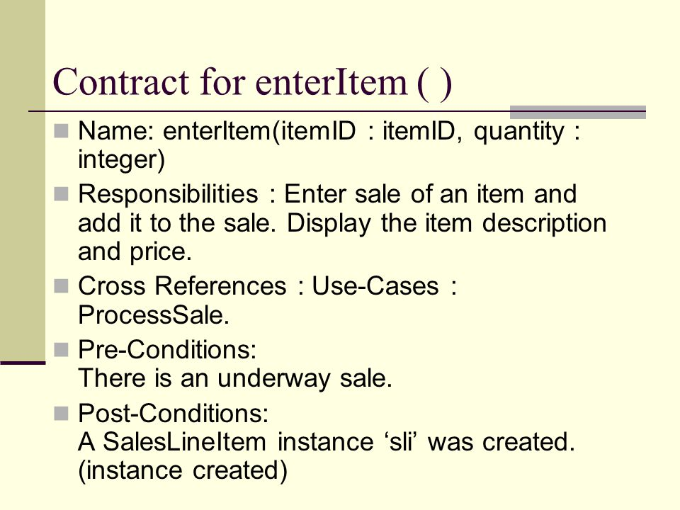 Contract for enterItem ( )