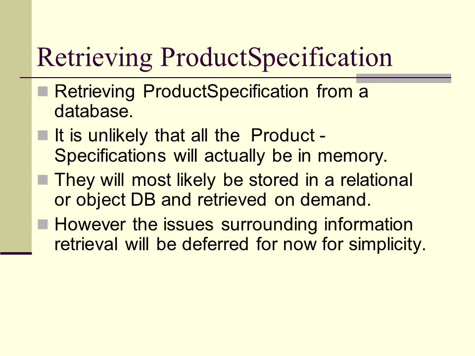 Retrieving ProductSpecification