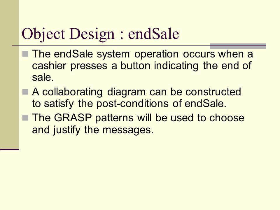 Object Design : endSale