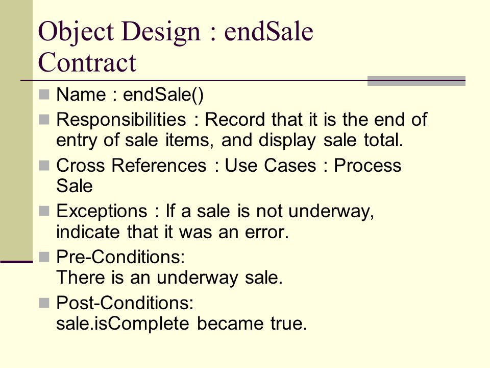 Object Design : endSale Contract