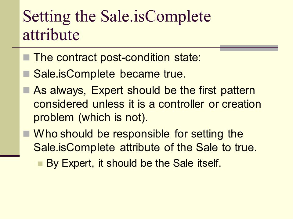 Setting the Sale.isComplete attribute