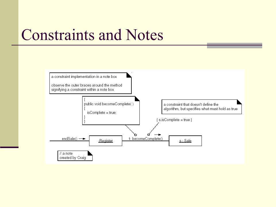 Constraints and Notes