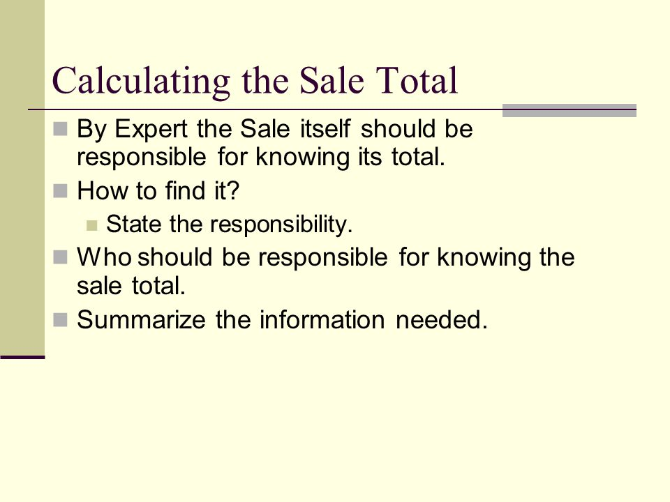 Calculating the Sale Total