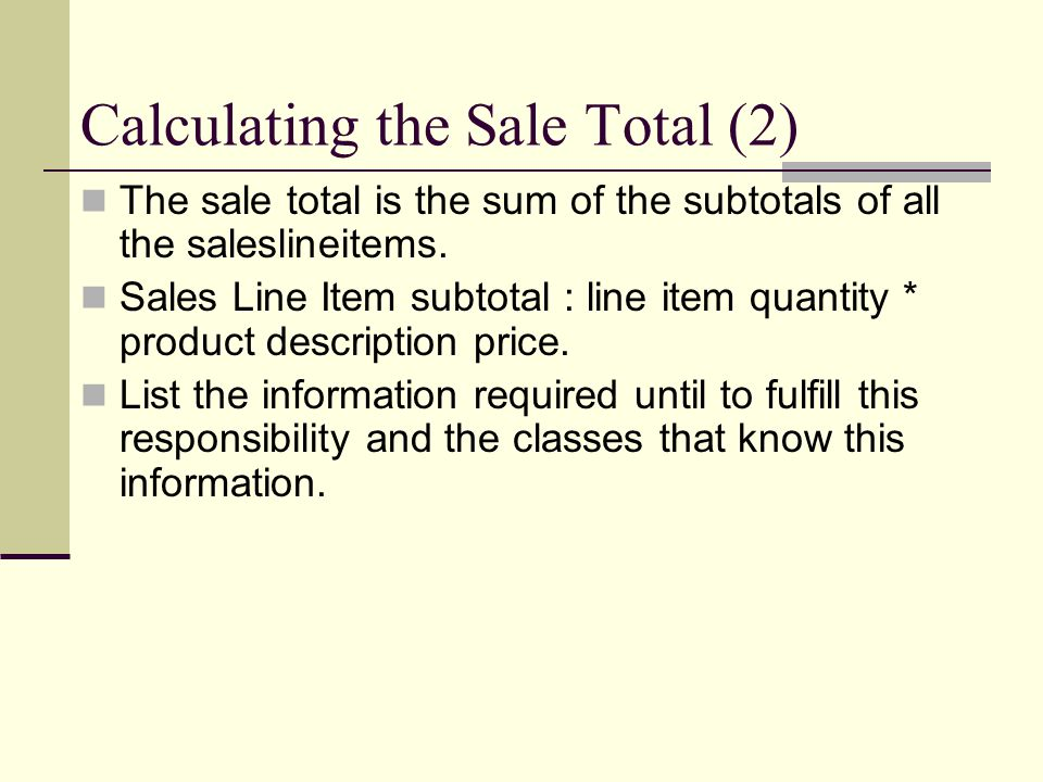 Calculating the Sale Total (2)