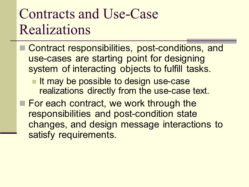 Contracts and Use-Case Realizations