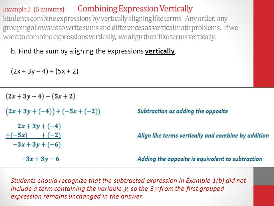 b. Find the sum by aligning the expressions vertically.
