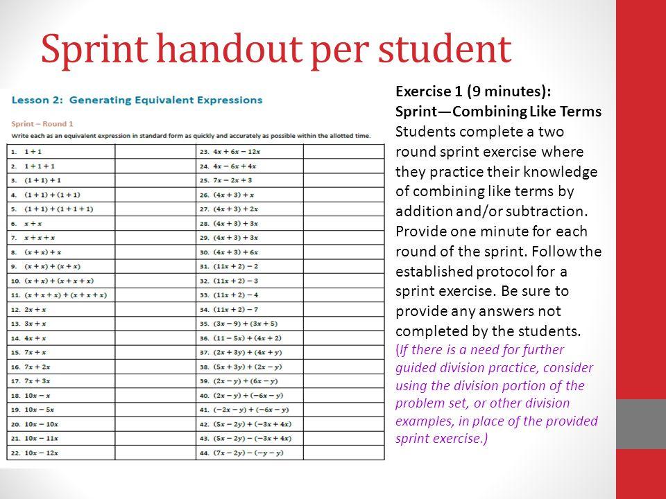 Sprint handout per student