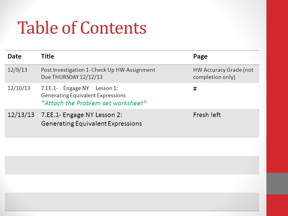 Table of Contents Date Title Page *Attach the Problem set worksheet* #
