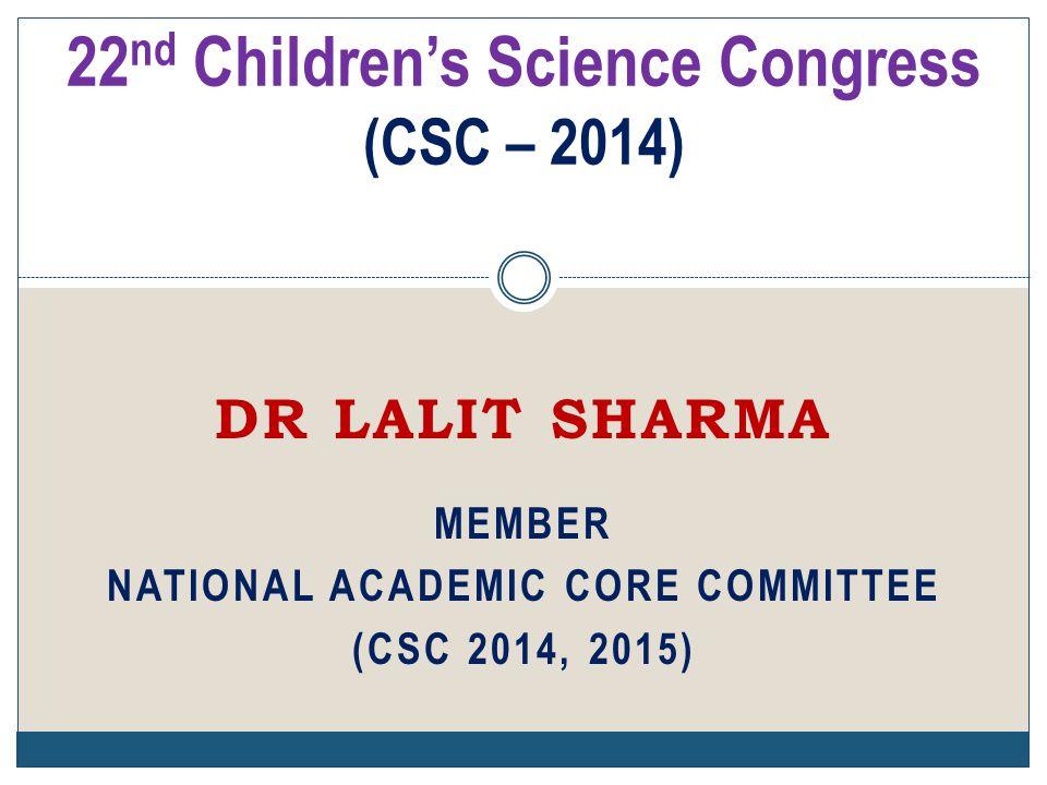 22nd Children's Science Congress (CSC – 2014)