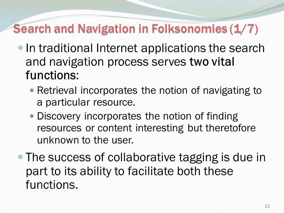 Search and Navigation in Folksonomies (1/7)