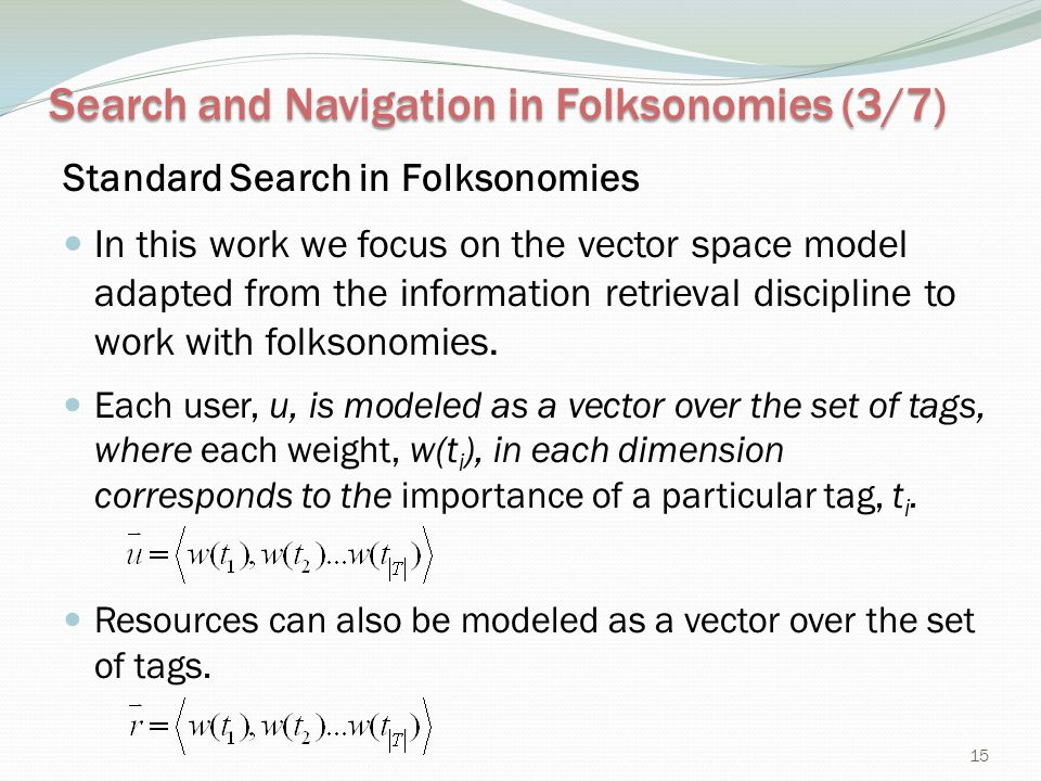 Search and Navigation in Folksonomies (3/7)