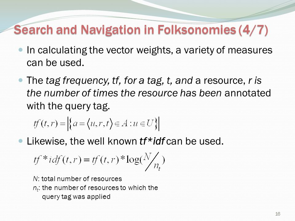 Search and Navigation in Folksonomies (4/7)