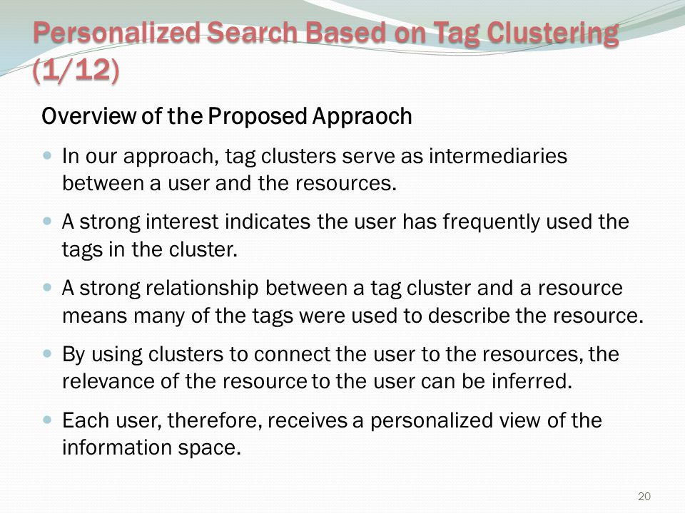 Personalized Search Based on Tag Clustering (1/12)
