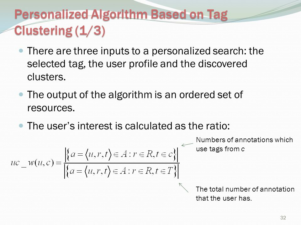 Personalized Algorithm Based on Tag Clustering (1/3)