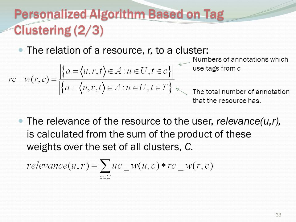 Personalized Algorithm Based on Tag Clustering (2/3)