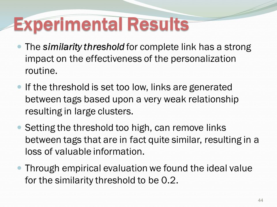 Experimental Results The similarity threshold for complete link has a strong impact on the effectiveness of the personalization routine.