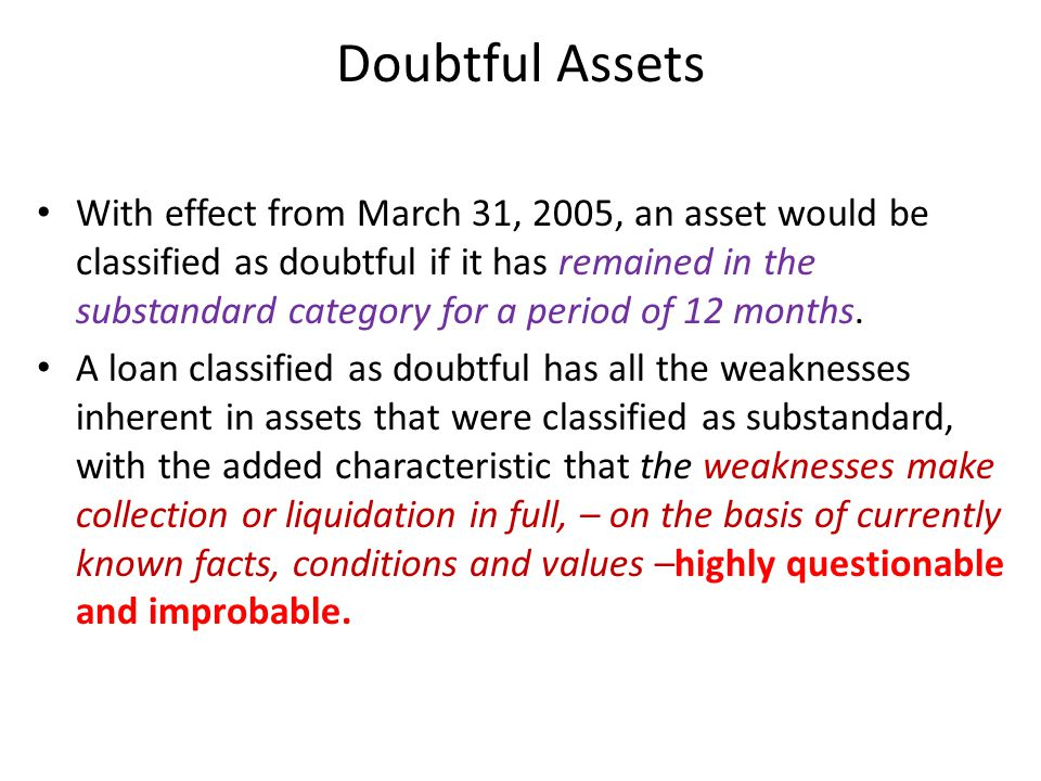 Doubtful Assets