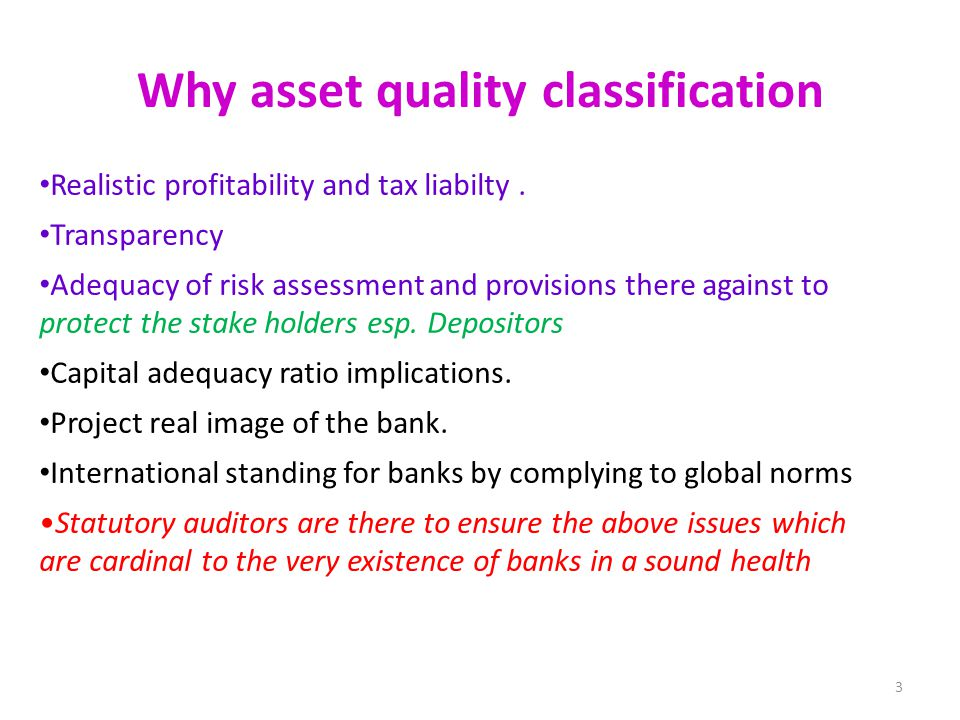 Why asset quality classification