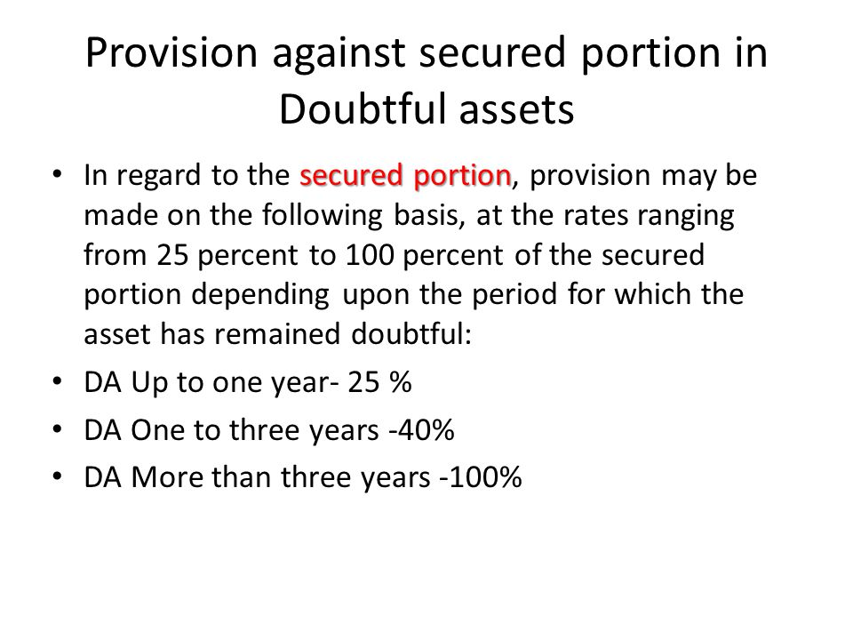 Provision against secured portion in Doubtful assets