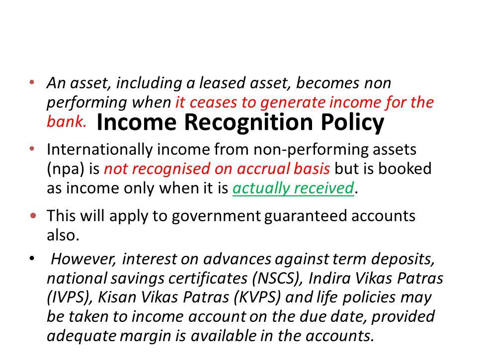 Income Recognition Policy